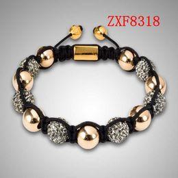 jewelry factory!Nialaya Individuality Best bracelets shamballa gold alloy cool dill Weave adjust High-grad Copper Beads bracelets ZXF8318