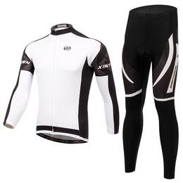XINTOW Fleece cycling jersey long sleeve Cycling clothing wear & none bib Pants Set winter thermal fleece cycling clothing