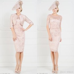 Wholesale 2016 New Arrival Sheer CrewNeck Half Sleeves Pink John Charles Mother of the Bride Dress with Jacket Lace Knee Length Column Mum Dress