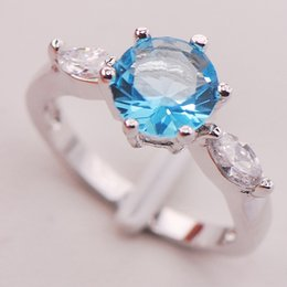 Wholesale Aquamarine Women Sterling Silver Ring F740 Size
