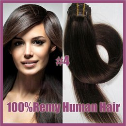 """Wholesale - 18-20"""",8pcs Brazilian remy Hair straight clip-in hair remy human hair extensions, 6# light brown ,100g set,"""