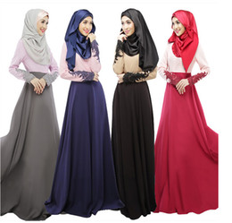 Wholesale Long Applique Panel Evening Gown - Islamic Clothing Muslim Evening Dress Abaya Formal Evening Gowns Long Sleeve Lace Cuff Panelled Floor-Length Skirt Ethnic Clothes 5 pcs lot
