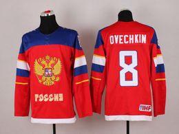 Descuento maillot olímpico rusia Venta al por menor Sochi 2014 Olympics Team Rusia Alex Ovechkin Jersey # 8 Sochi Invierno Federación Rusa Red Ice Hockey Jerseys
