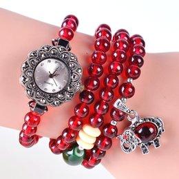 2015 Nouveau gros bracelet de luxe Garnet femmes Acrylique Vintage regarder multi-couche d'enroulement Garnet relogio Feminino montres à quartz supplier garnet watch à partir de montre grenat fournisseurs