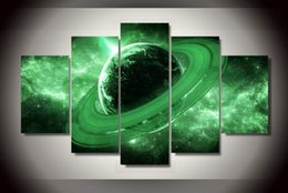 5 Panel Fantasy Canvas Oil Painting Green Pattern Space Universe Unframed Gift Painting for Home Decor