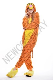Wholesale 2016 Cosplay Tigger Pajamas No Shoes Pajamas Hooded Conjoined Sleepwear Costumes Adult Unisex Onesie Soft Sleepwear CC28