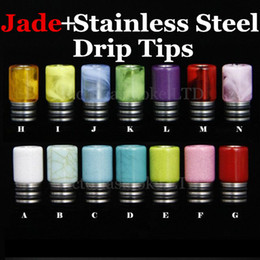 New Arrival 510 Drip Tip E Cigarettes Stainless Steel Jade Drip Tip Jade stone Drip Tip with Stainless Steel Wide Bore Atomizer Mouthpiece
