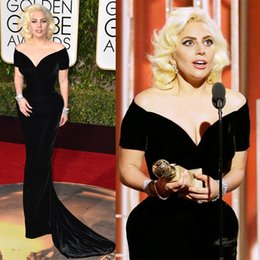 2016 Velvet Black Short Sleeves Mermaid Evening Dresses Off Shoulder Lady Gaga Pageant Gowns 73rd Golden Globe Awards Celebrity Dresses