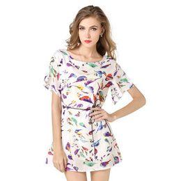 2016 best seller oiseau imprimé robe avec manches chauve-souris mousseline de soie jupe à manches courtes occasionnels robe de la femme robe de manchette à partir de belles robes à manches courtes fabricateur