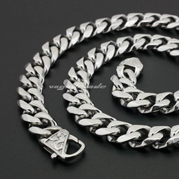 For Husband   Father Gifts 13mm 24'' Middle Eastern Men Jewelry Stainless Steel Cuban Curb Link-chain Necklace Silver Tone Heavy wholesale
