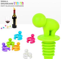 Promotion verre bouchons de vin NOUVEAU 7Psc/Set Bouteille de Vin Bouchon et le Vin en Verre Marqueurs de matériau en silicone de fournitures de parti faveurs de partie de