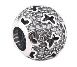Sterling Silver Charms 925 Ale Rhinestone Butterfly Hollow Out Charms for Pandora Bracelets DIY Beads Accessories Free Shipping