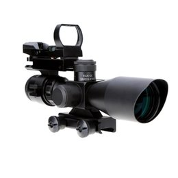 Wholesale 2 X40 Aluminum Alloy Illuminated Tactical Riflescope with Red Laser Detachable Reflex Lens Red Green Dot Sight Scope Y1136