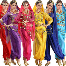 Wholesale 4pcs Sets Long Sleeve India Egyptian Adult Belly Dance Costumes Bollywood Costumes Indian Dress Bellydance Set Wear Dress Womens Belly Danci