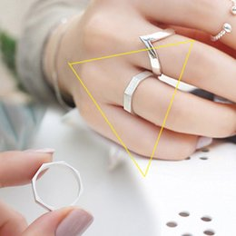 Wholesale Korean Korean star with money opening Luo mother S925 Silver brushed silver ring ring shaped geometry section