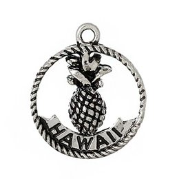 Wholesale Charm Pendants Round Antique Silver Pineapple Pattern Message quot Hawaii Aloha quot Carved mmx mm new