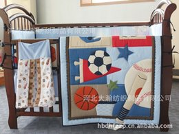 Wholesale Printing embroidery Basketball football baseball pattern baby bedding set includes Quilt bed Bumper Sheet Skirt Mattress Cover