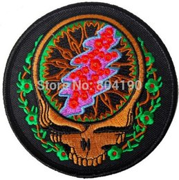 Wholesale 3 quot GRATEFUL DEAD SKULL Logo Music Band Embroidered IRON ON Patch Rock Punk Heavy Metal Custom design patch available