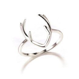 Wholesale Fashion Women Ring Solid Sterling Silver Deer Bijoux Silver Antler Ring In Lucky Sonny Store
