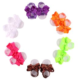 Fashion Baby Girl Barefoot Sandals 12 colors Ribbon bows Foot Flower Foot Ties girls Toddler Shoes Photography props 20pairs lot