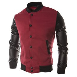 Wholesale New Men Sweater PU Leather Collar Sweater Personalized Baseball Stitching Clothes Man Jacket Plus Size M XL Wine Red Navy