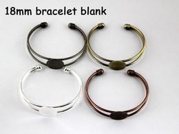 Wholesale 10pcs Cuff bracelet blank flat plate Round silver mm beautiful bracelet setting Base Cabochon Bracelet