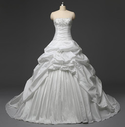 Classic Wedding Dresses Cheap 2016 Real Photos Strapless Ruffles White   Ivory Taffeta Ball Gown Bridal Gowns In Stock With Lace Up Back