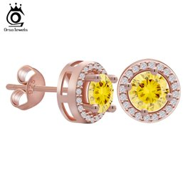 Wholesale ORSA Rose Gold Earring Stud with ct Yellow CZ Diamond Classical Claw Earrings For Women Colors Available OE104 R
