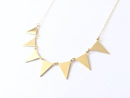 10PCS- N084 Gold Silver Bunting Necklace Simple Spike Arrow Necklace European Little Multiple Flags Necklace Triangles Necklaces