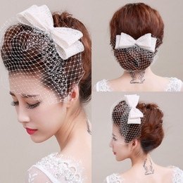 Wholesale Ivory Bird Cage Face Veil With Bow Wedding Veil Headwear Netting Face Short Feather Fascinator Hearpiece with Veil Tulle Cheap Veil