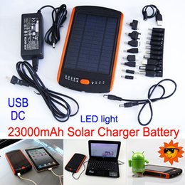 Wholesale 23000mAh High Capacity Solar Charger and Battery Solar Panel Dual Charging Ports portable power bank For Cell phone Notebook MP4 PSP Laptop