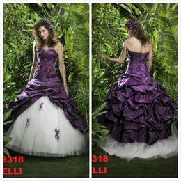 Wholesale Charming Vintage Purple and White Wedding Dress Applique Pleats A Line Sweetheart Floor length Vestidos Custom made High Quality Bridal Gown