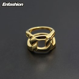 Wholesale-Fashion structured chain ring and link chain finger ring 18K gold rings for women and men stainless steel ring jewelry wholesale