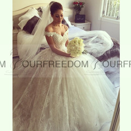 2019 Gorgeous Ball Gowns Wedding Dresses Princess Off The Shoulder Long Lace Dresses For Wedding Sexy Backless Wedding Dresses Custom