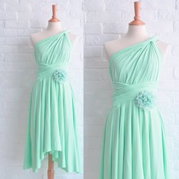 2015 Mint Bridesmaid Dresses Asymmetrical Neckline Pleats Hand Made Flowers Chiffon Tea Length Maid Of Honor Dresses Dhyz 01