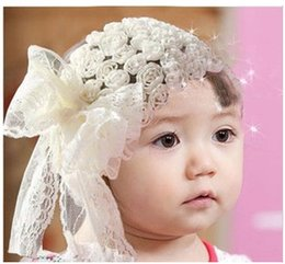 Wholesale Girls headbands lace flower girls hair accessories cute bow pink and cream color Princess head pieces LD189