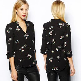 Women Ladies New Plunge Chiffon Pullover Flower Print Floral V Neck Irregular Top Shirt Roll Sleeve Blouse Wholesale