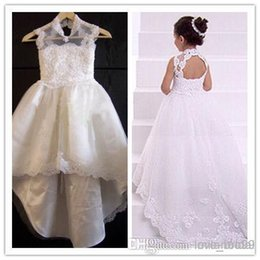 Vintage Lace 2015 Pageant Dresses A-line Halter Lace Appliques Chapel Train Flower Girl Dresses Formal Dresses For Girls