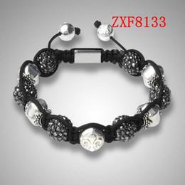 Compra Online Machos negros-Pulseras de Shamballa Whosaler bolas de aleación de nialaya Moda brazalete Negro aleación de perforación de mano pulsera de brazalete masculino para wemen unsex ZXF8131