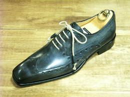 Men Dress shoes Oxfords shoes Custom handmade shoes Genuine calf leather Color Dark Navy Square toe HD-J043