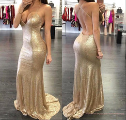 2018 New Arival Sexy Mermaid Evening Party Wear Dresses Spaghetti Straps V Neck Backless Formal Dresses For Prom Club BA2294