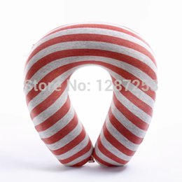 Wholesale Top quality bamboo Fiber England strippe color soft memory foam travel Pillow neck support U pillow magnet therapy