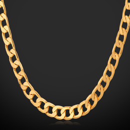 18K Real Gold Plated Men Jewelry With '18K' Stamp Necklaces Free Shipping Wholesale New Fashion Link Chain Necklaces N744