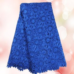 Wholesale New arrival royal blue Water Soluble lace fabric TWL15 yards oc Afican embroidery guipure lace cloth Many colors