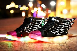 Wholesale New wings boy girl USB charge LED multi shift light shoes leisure shoes children shoes retail