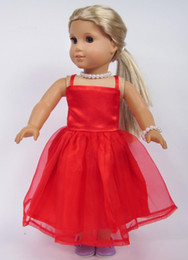 Wholesale Christmas Gifts For Children Girls Doll Accessories Handmade Princess Red Dress For American Girl Dolls Clothes