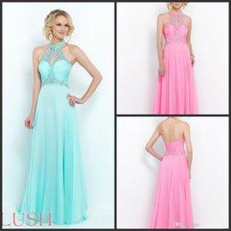 Wholesale 2015 High Neck Floor Length Crystals Beads Chiffon Prom Dresses Party Evening Gowns Aquamarine Azalea Powder Blue