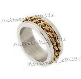 Titanium Stainless Steel Gold Chain Spinner Men's Silver Ring Band Wedding Gift Size 7,8,9,10,11,12