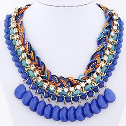 2015 Fashion All Match Ocean Style Colorful Resin Beads Rope Chain Handmade Necklace Fashion Necklace Jewelry For Women