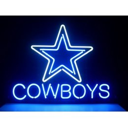 2017 panneaux de cowboy Gros-DALLAS COWBOYS FOOTBALL ARTISANAT NEON LUMIERE BEER BAR PUB REAL GLASS TUBE SIGN 17x14